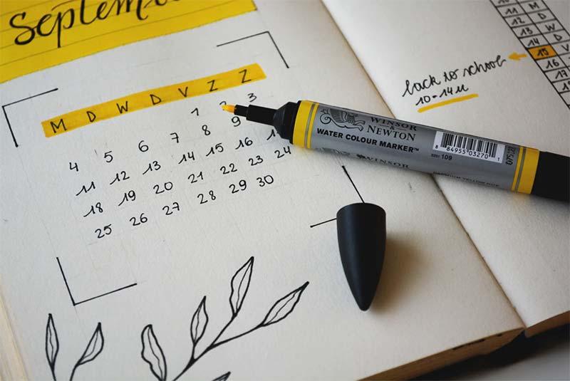 A September calendar showing the importance of regular skin checks at home